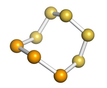 disulfide: Selenium disulfide dandruff shampoo active ingredient, chemical structure. Selenium sulfide has antifungal properties. Atoms are represented as spheres with conventional color coding: sulfur (yellow), selenium (orange).