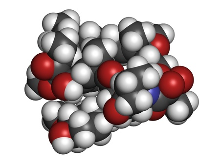 immunosuppressive: Rapamycin (sirolimus) immunosuppressive drug, chemical structure. Used to prevent transplant rejection and in coronary stent coating. Atoms are represented as spheres with conventional color coding: hydrogen (white), carbon (grey), nitrogen (blue), oxygen