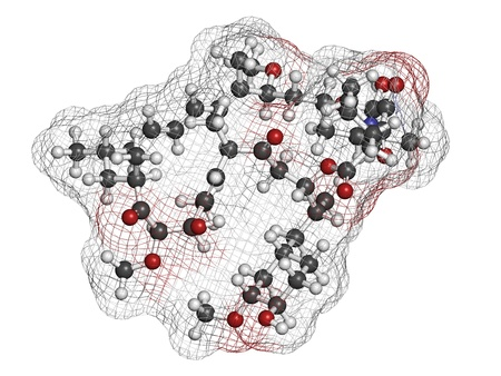 Rapamycin (sirolimus) immunosuppressive drug, chemical structure. Used to prevent transplant rejection and in coronary stent coating. Atoms are represented as spheres with conventional color coding: hydrogen (white), carbon (grey), nitrogen (blue), oxygen
