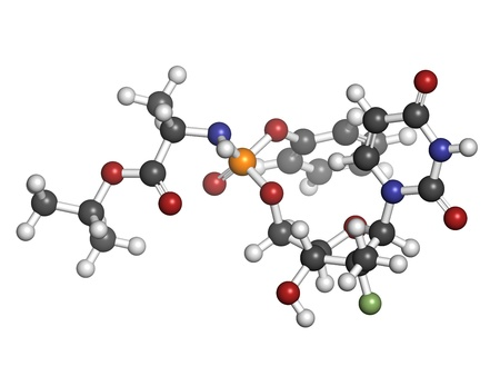 generic medicine: Sofosbuvir experimental (2013) hepatitis C virus drug, chemical structure. Atoms are represented as spheres with conventional color coding: hydrogen (white), carbon (grey), nitrogen (blue), oxygen (red), phosphorus (orange), fluorine (green).