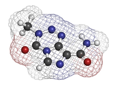purine: Temzolomide cancer chemotherapy drug, chemical structure. Atoms are represented as spheres with conventional color coding: hydrogen (white), carbon (grey), nitrogen (blue), oxygen (red).