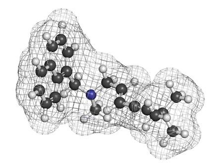 살균제: 테르 비나 핀의 항진균 약물, 화학 구조. 수소 (흰색), 탄소 (회색), 질소 (파란색) : 원자는 기존의 컬러 코딩 분야로 표시됩니다.