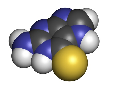 coeliac: Tioguanine leukemia and ulcerative colitis drug, chemical structure. Atoms are represented as spheres with conventional color coding: hydrogen (white), carbon (grey), sulfur (yellow). Stock Photo