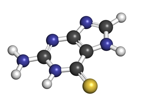 Tioguanine leukemia and ulcerative colitis drug, chemical structure. Atoms are represented as spheres with conventional color coding: hydrogen (white), carbon (grey), sulfur (yellow). Stock Photo - 21339864