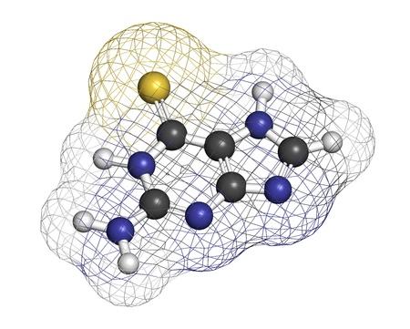 leucemia: Tioguanine leucemia y drogas colitis ulcerosa, la estructura qu�mica. Los �tomos se representan como esferas con c�digo de colores convencionales: hidr�geno (blanco), el carb�n (gris), azufre (amarillo).