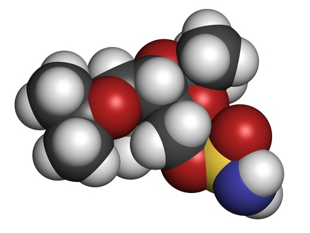seizures: Topiramate epilepsy and weight loss drug, chemical structure Atoms are represented as spheres with conventional color coding: hydrogen (white), carbon (grey), nitrogen (blue), oxygen (red), sulfur (yellow) Stock Photo