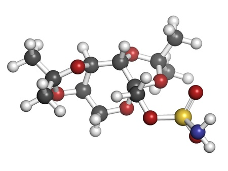 convulsion: Topiramate epilepsia y el medicamento para perder peso, la estructura de los �tomos qu�micos se representan como esferas de color convencional de codificaci�n: hidr�geno (blanco), el carb�n (gris), nitr�geno (azul), el ox�geno (roja), azufre (amarillo)