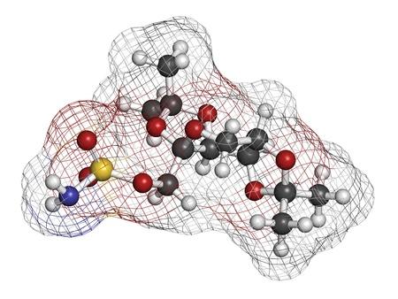 convulsi�n: Topiramate epilepsia y el medicamento para perder peso, la estructura de los �tomos qu�micos se representan como esferas de color convencional de codificaci�n: hidr�geno (blanco), el carb�n (gris), nitr�geno (azul), el ox�geno (roja), azufre (amarillo)