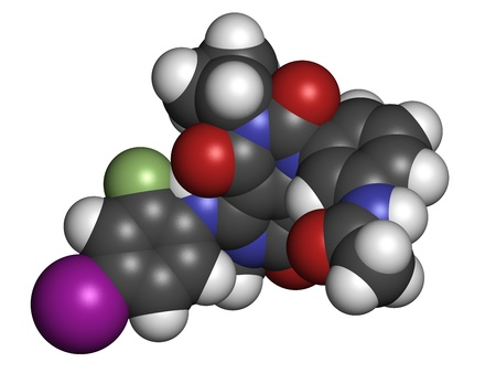 fluorine: Trametinib melanoma cancer drug, chemical structure. Atoms are represented as spheres with conventional color coding: hydrogen (white), carbon (grey), nitrogen (blue), oxygen (red), iodine (purple), fluorine (green). Stock Photo