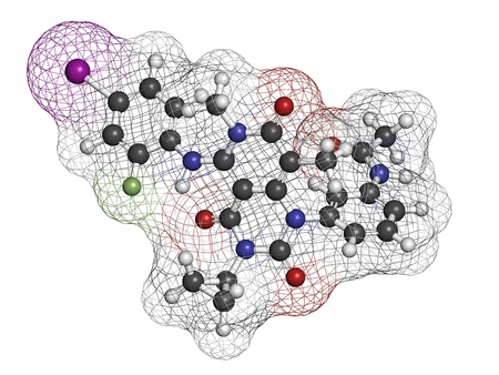 Trametinib melanoma cancer drug, chemical structure. Atoms are represented as spheres with conventional color coding: hydrogen (white), carbon (grey), nitrogen (blue), oxygen (red), iodine (purple), fluorine (green). Stock Photo