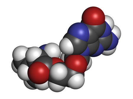 varicella: Valaciclovir (valacyclovir) herpes infection drug, chemical structure. Atoms are represented as spheres with conventional color coding: hydrogen (white), carbon (grey), nitrogen (blue), oxygen (red).