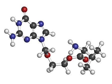 Valaciclovir (valacyclovir) herpes infection drug, chemical structure. Atoms are represented as spheres with conventional color coding: hydrogen (white), carbon (grey), nitrogen (blue), oxygen (red). photo
