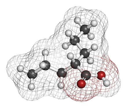 seizures: Valproic acid or valproate epilepsy (seizures) drug, chemical structure. Atoms are represented as spheres with conventional color coding: hydrogen (white), carbon (grey), oxygen (red).