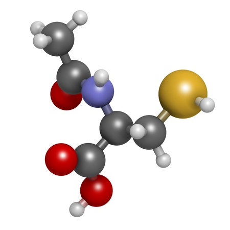Acetylcysteine (NAC) mucolytic drug, chemical structure. Also used to treat paracetamol overdose, Atoms are represented as spheres with conventional color coding: hydrogen (white), carbon (grey), oxygen (red), nitrogen (blue), sulfur (yellow) photo