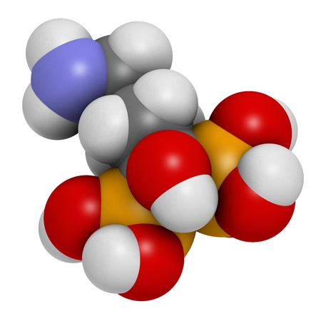 phosphorus: Alendronic acid (alendronate, bisphosphonate class) osteoporosis drug, chemical structure. Atoms are represented as spheres with conventional color coding: hydrogen (white), carbon (grey), oxygen (red), nitrogen (blue), phosphorus (orange)