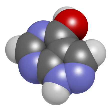 purine: Allopurinol gout drug, chemical structure. Atoms are represented as spheres with conventional color coding: hydrogen (white), carbon (grey), oxygen (red), nitrogen (blue)