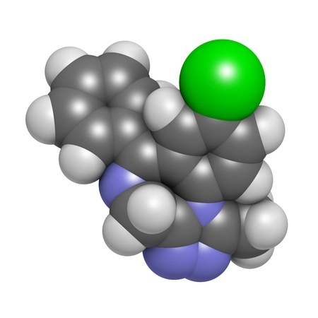 benzodiazepine: Alprazolam sedative and hypnotic drug (benzodiazepine class), chemical structure. Atoms are represented as spheres with conventional color coding: hydrogen (white), carbon (grey), nitrogen (blue), chlorine (green) Stock Photo