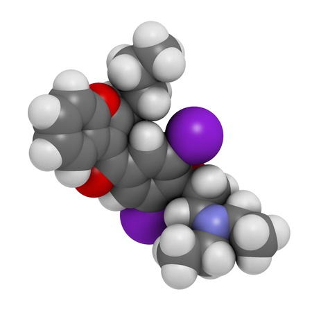 iodine: Amiodarone antiarrhythmic drug, chemical structure. Atoms are represented as spheres with conventional color coding: hydrogen (white), carbon (grey), nitrogen (blue), oxygen (red), iodine (purple)