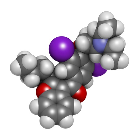 fibrillation: Amiodarone antiarrhythmic drug, chemical structure. Atoms are represented as spheres with conventional color coding: hydrogen (white), carbon (grey), nitrogen (blue), oxygen (red), iodine (purple)