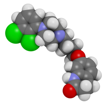 manic: Aripiprazole antipsychotic drug, chemical structure. Atoms are represented as spheres with conventional color coding: hydrogen (white), carbon (grey), nitrogen (blue), oxygen (red), chlorine (green)