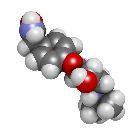 high blood pressure: Atenolol hypertension or high blood pressure drug (beta blocker), chemical structure. Atoms are represented as spheres with conventional color coding: hydrogen (white), carbon (grey), nitrogen (blue), oxygen (red)