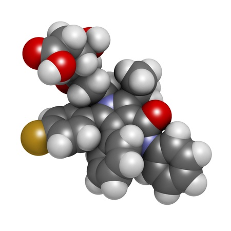 lowering: Atorvastatin cholesterol lowering drug (statin class), chemical structure. Atoms are represented as spheres with conventional color coding: hydrogen (white), carbon (grey), oxygen (red), nitrogen (blue), fluorine (gold) Stock Photo