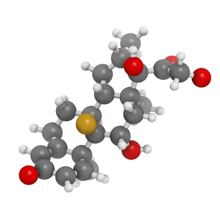 Betamethasone anti-inflammatory and immunosuppressive steroid drug, chemical structure. Atoms are represented as spheres with conventional color coding: hydrogen (white), carbon (grey), oxygen (red), fluorine (gold) photo