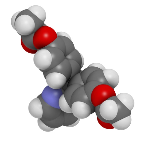 laxative: Bisacodyl laxative drug, chemical structure. Atoms are represented as spheres with conventional color coding: hydrogen (white), carbon (grey), oxygen (red), nitrogen (blue)