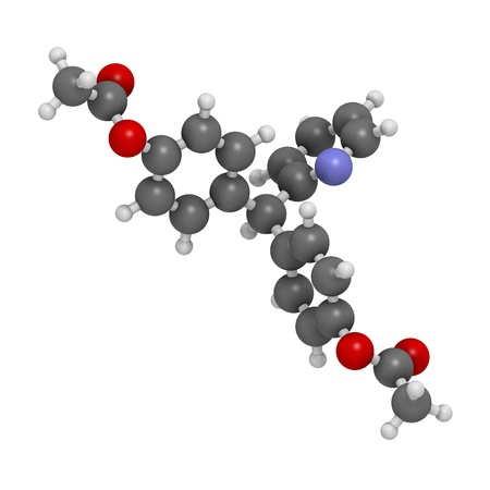 Bisacodyl laxative drug, chemical structure. Atoms are represented as spheres with conventional color coding: hydrogen (white), carbon (grey), oxygen (red), nitrogen (blue) Stock Photo - 21513950