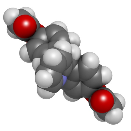 Bisacodyl laxative drug, chemical structure. Atoms are represented as spheres with conventional color coding: hydrogen (white), carbon (grey), oxygen (red), nitrogen (blue) Stock Photo - 21513951