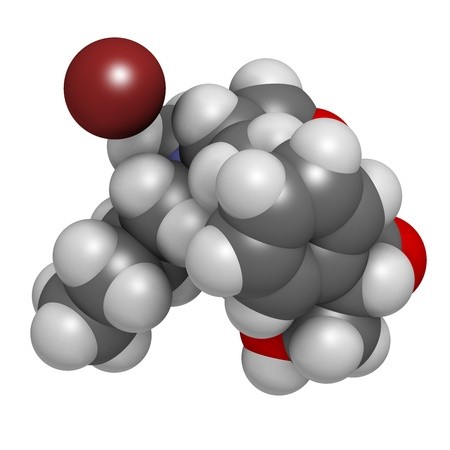 spasmodic: Butylscopolamine (butylhyoscine) bromide abdominal and menstrual cramps drug, chemical structure. Atoms are represented as spheres with conventional color coding: hydrogen (white), carbon (grey), oxygen (red), nitrogen (blue), bromine (brown)