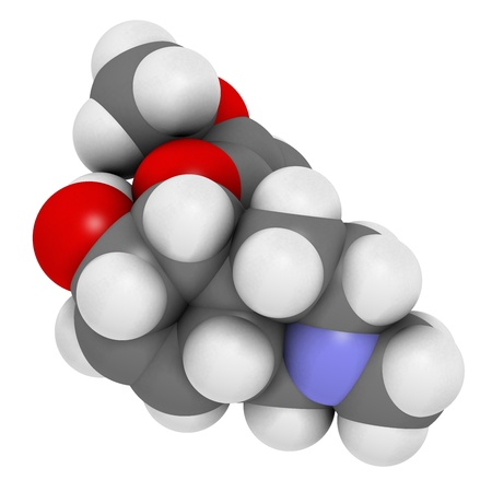 opioid: Codeine pain and cough relief drug, chemical structure. Atoms are represented as spheres with conventional color coding: hydrogen (white), carbon (grey), oxygen (red), nitrogen (blue) Stock Photo