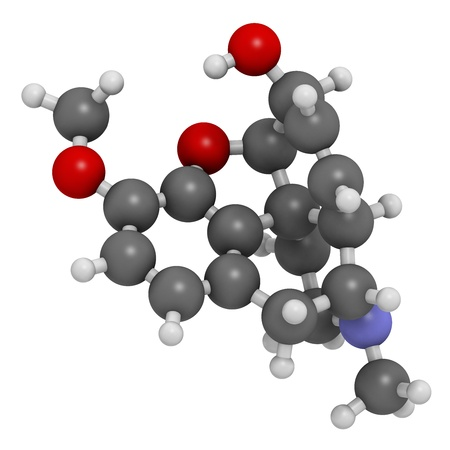 opiate: Codeine pain and cough relief drug, chemical structure. Atoms are represented as spheres with conventional color coding: hydrogen (white), carbon (grey), oxygen (red), nitrogen (blue) Stock Photo