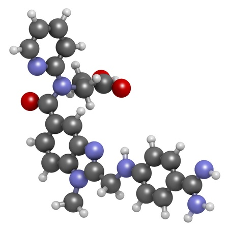 anticoagulant: Dabigatran anticoagulant drug (direct thrombin inhibitor), chemical structure. Atoms are represented as spheres with conventional color coding: hydrogen (white), carbon (grey), oxygen (red), nitrogen (blue)