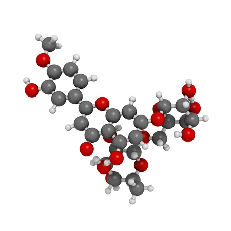 venous: Diosmin venous disease and hemorrhoids drug, chemical structure. Atoms are represented as spheres with conventional color coding: hydrogen (white), carbon (grey), oxygen (red)