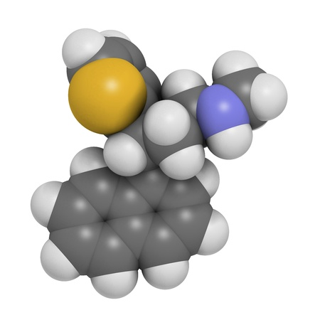 Duloxetine antidepressant drug (SNRI class), chemical structure. Also used in fibromyalgia treatment, etc. Atoms are represented as spheres with conventional color coding: hydrogen (white), carbon (grey), nitrogen (blue), sulfur (yellow), oxygen (red) Stock Photo - 21514001