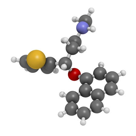 Duloxetine antidepressant drug (SNRI class), chemical structure. Also used in fibromyalgia treatment, etc. Atoms are represented as spheres with conventional color coding: hydrogen (white), carbon (grey), nitrogen (blue), sulfur (yellow), oxygen (red) Stock Photo - 21514002