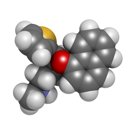 Duloxetine antidepressant drug (SNRI class), chemical structure. Also used in fibromyalgia treatment, etc. Atoms are represented as spheres with conventional color coding: hydrogen (white), carbon (grey), nitrogen (blue), sulfur (yellow), oxygen (red) Stock Photo - 21514019