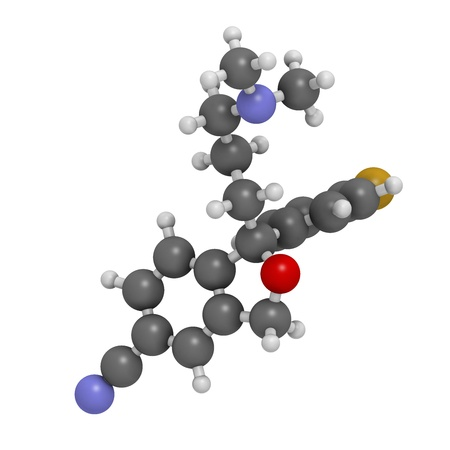 premenstrual: Escitalopram antidepressant drug (SSRI class), chemical structure. Atoms are represented as spheres with conventional color coding: hydrogen (white), carbon (grey), nitrogen (blue), oxygen (red), fluorine (gold) Stock Photo