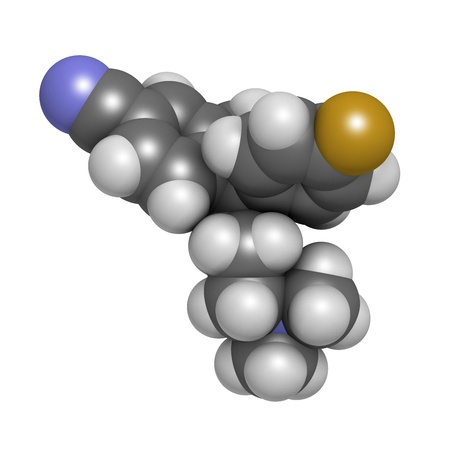 antidepressant: Escitalopram antidepressant drug (SSRI class), chemical structure. Atoms are represented as spheres with conventional color coding: hydrogen (white), carbon (grey), nitrogen (blue), oxygen (red), fluorine (gold) Stock Photo