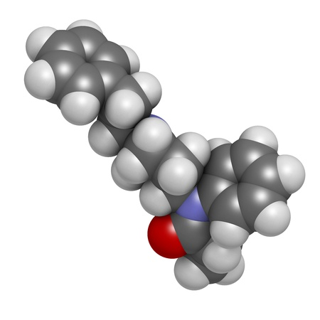 palliative: Fentanyl (fentanil) opioid analgesic drug, chemical structure. Atoms are represented as spheres with conventional color coding: hydrogen (white), carbon (grey), oxygen (red), nitrogen (blue) Stock Photo