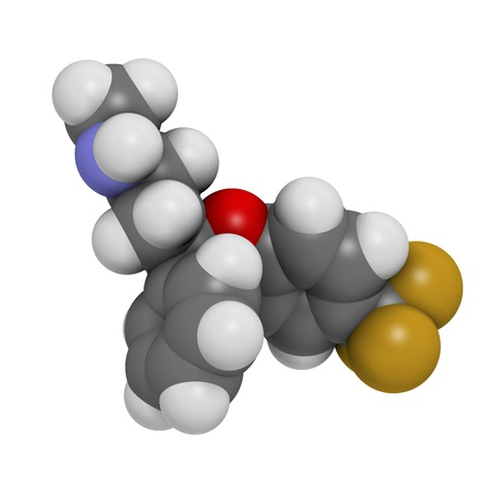 premenstrual: Fluoxetine antidepressant drug (SSRI class), chemical structure. Atoms are represented as spheres with conventional color coding: hydrogen (white), carbon (grey), nitrogen (blue), oxygen (red), fluorine (gold) Stock Photo