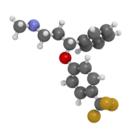antidepressant: Fluoxetine antidepressant drug (SSRI class), chemical structure. Atoms are represented as spheres with conventional color coding: hydrogen (white), carbon (grey), nitrogen (blue), oxygen (red), fluorine (gold) Stock Photo
