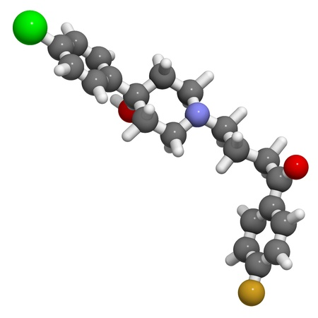 inverse: Haloperidol antipsychotic (neuroleptic) drug, chemical structure. Atoms are represented as spheres with conventional color coding: hydrogen (white), carbon (grey), nitrogen (blue), oxygen (red), chlorine (green), fluorine (gold) Stock Photo