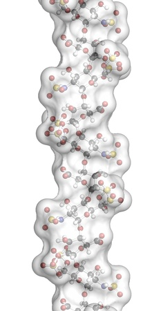coagulation: Heparin anticoagulant drug, chemical structure. Atoms are represented as spheres with conventional color coding: hydrogen (white), carbon (grey), oxygen (red), nitrogen (blue), sulfur (yellow)