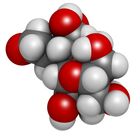 Lactulose chronic constipation drug (laxative), chemical structure. Atoms are represented as spheres with conventional color coding: hydrogen (white), carbon (grey), oxygen (red) Stock Photo - 21514037