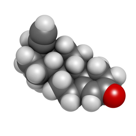 progesterone: Levonorgestrel contraceptive pill drug, chemical structure. Atoms are represented as spheres with conventional color coding: hydrogen (white), carbon (grey), oxygen (red)