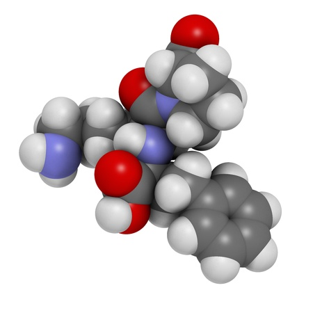converting: Lisinopril hypertension or high blood pressure drug (ACE inhibitor), chemical structure. Atoms are represented as spheres with conventional color coding: hydrogen (white), carbon (grey), nitrogen (blue), oxygen (red)