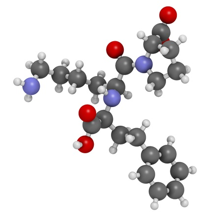 inhibitor: Lisinopril hypertension or high blood pressure drug (ACE inhibitor), chemical structure. Atoms are represented as spheres with conventional color coding: hydrogen (white), carbon (grey), nitrogen (blue), oxygen (red)