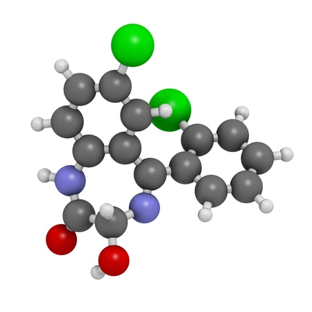 benzodiazepine: Lorazepam sedative and hypnotic drug (benzodiazepine class), chemical structure. Atoms are represented as spheres with conventional color coding: hydrogen (white), carbon (grey), nitrogen (blue), chlorine (green)